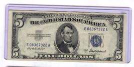 1953 A SILVER CERTIFICATE $5 DOLLAR NOTE 322A - $34.65
