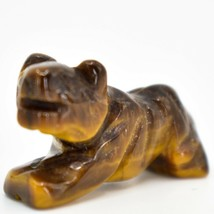 Tiger's Eye Gemstone Tiny Miniature Lion Figurine Hand Carved in China image 2