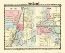 Joliet Peru Freeport Illinois - Warner 1870 - 23.00 x 27.68 - $36.58+