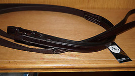 "Bobby's Havana Signature English Rubber Reins WB Sz - 5/8"" x 60"" Hook/St... - $86.00"