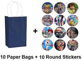 TOY STORY Party Favor Paper Bags Round Decals Stickers Loots Blue Birthd... - $16.78