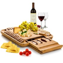 Bambusi by Belmint 100% Natural Bamboo Cheese Board & Cutlery Set with S... - £52.57 GBP