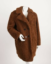 Zara Womens Brown Teddy Coat Jacket XL Double Breasted Shearling 4360/04... - $98.01