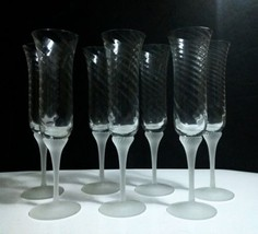 """7 Crystal Clear Industries VALERIE Frosted 9 1/2"""" Optic Swirl Champagne ... - $18.80"""