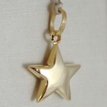 18K YELLOW GOLD ROUNDED STAR PENDANT CHARM 20 MM WORKED & SMOOTH, MADE IN ITALY image 3