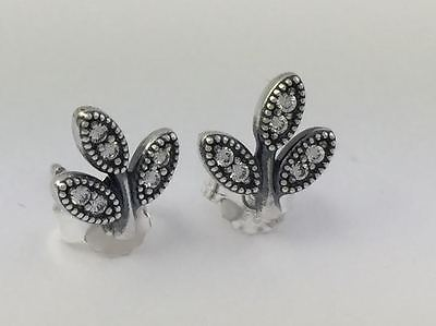 Primary image for Authentic Pandora Sparkling Leaves Stud Earrings 925 Silver CZ 290564CZ, New
