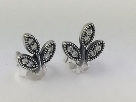 Authentic Pandora Sparkling Leaves Stud Earrings 925 Silver CZ 290564CZ, New - $46.54