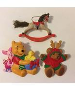 3 Pins Brooch Disney Hallmark Cards Piglet Pooh Bear Rocking Horse Christmas  - £21.75 GBP
