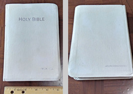 KJV Bible Red Letter Edition Printed in Belgium Genuine White Leather Si... - $33.80