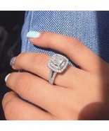 Certified 2.80Ct Princess Cut White Diamond Halo Engagement Ring 14K White Gold - €231,45 EUR