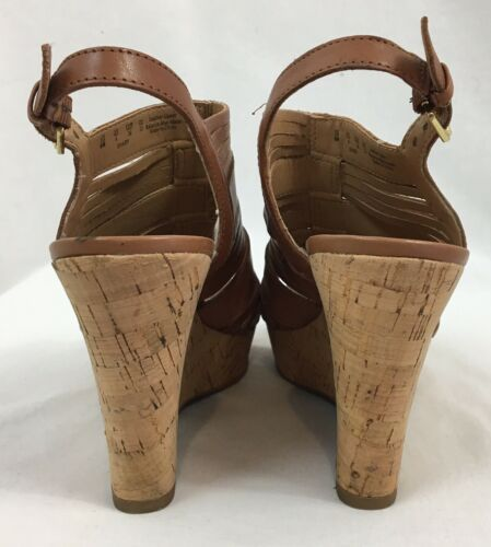 "Franco Sarto ""Sharp"" Brown Leather Slingback Wedges, Women's US Size 6M image 3"