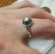 NEW Ladies 925 Vintage Fashion Sterling Silver Mother Of Pearl Marcasite... - $48.00