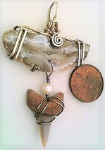 Fossilized Shark Tooth Agate Silver Wire Wrap Pendant 18 - $34.00