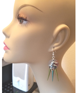 silver witch face chandelier halloween earrings blue green fairytale jew... - $5.99