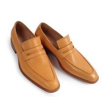 Handmade Men's Beige Dress Formal Slip Ons Loafer Leather Shoes  image 1