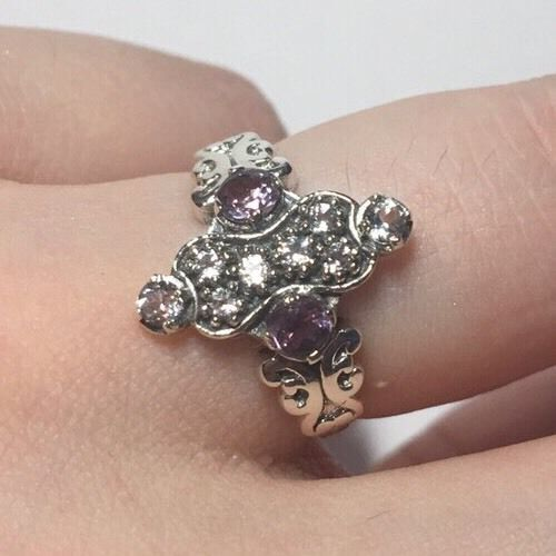1CT Amethyst 925 Sterling Silver Art Deco Filigree Ring Sz 6