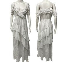 Forever21 White Maxi Ruffle Dress With Black Polka Dots Medium - $29.60