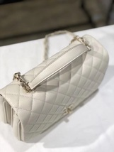 BNIB AUTHENTIC CHANEL 2018 WHITE Quilted Calfskin Top Handle Flap Bag RECEIPT image 6