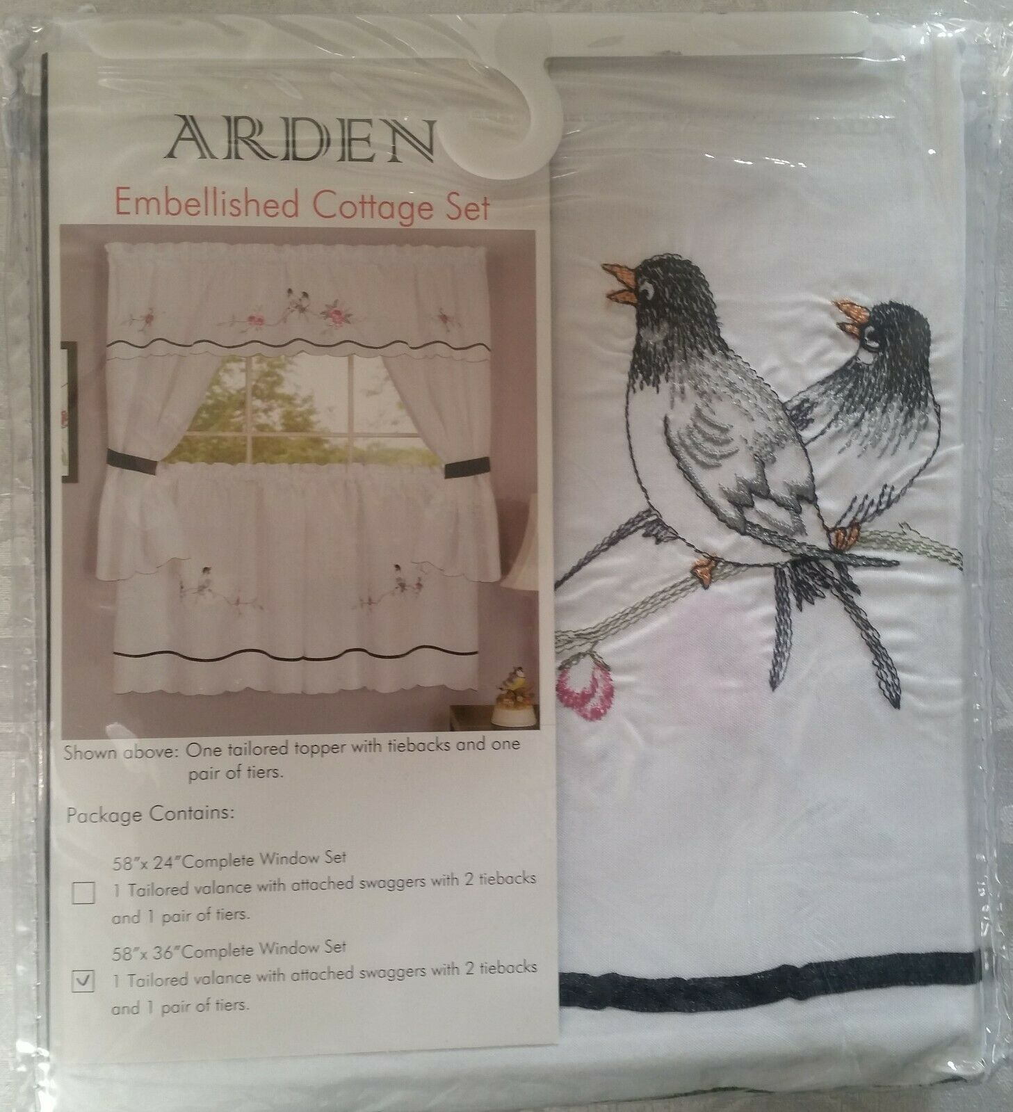 "Primary image for 3 pc. Embellished Curtains Set: 2 Tiers & Valance (58""x36"") BIRDS, ARDEN, Achim"