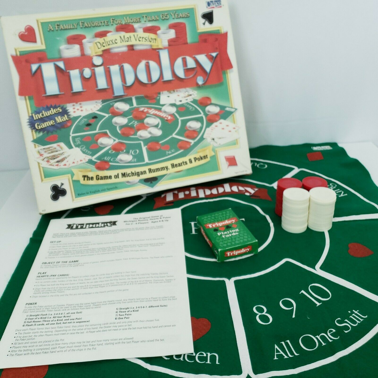 Tripoley Board Game Deluxe Mat Version Cadaco 2-9 Players Vintage 1999 Complete