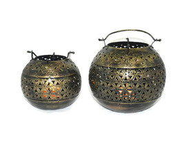 Set of 2 Handmade Candle Light Lamp Home Décor Iron Handicraft - $17.81