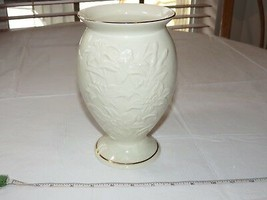 Lenox Handcrafted Vase Cream Color with Imbossed Tigerlilies Gold Trim 8... - $31.92