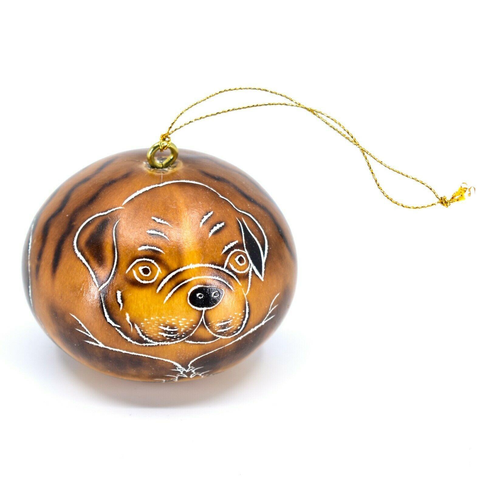 Handcrafted Carved Gourd Art English Bulldog Puppy Dog Ornament Handmade in Peru
