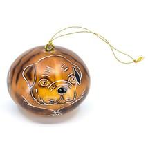 Handcrafted Carved Gourd Art English Bulldog Puppy Dog Ornament Handmade in Peru image 1