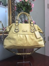Coach Ashley Satchel Leather Celery Green Convertible Shoulder F15445 C1 - $77.39