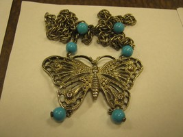 BUTTERFLY large silver color butterfly on 21 inch silver and blue beads chain - $9.89