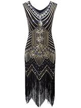 Vijiv Women 1920s Gastby Sequin Art Nouveau Embellished Fringed Flapper ... - $45.52