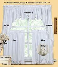 Kitchen Curtain Valance Tier Swag Beige White This 100% Cotton TkLinen (... - $55.44