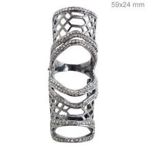 Antique Cut Rose Cut Diamond Silver Full Finger Pave Ring CJUK178 - $5.423,52 MXN