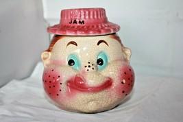 Vintage figural freckle face boy Jam jelly honey Jar american bisque min... - $26.60