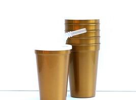12- Lg 20 Oz. Pearl Gold Plastic Drinking Glasses Lids Straws Mfg USA Le... - $30.70