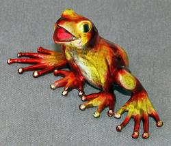 Bronze Frog Figurine Statue Amphibian Art Sculpture Wildlife Frogs Natur... - £198.72 GBP
