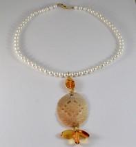 Collier en or Jaune 18KT Avec Perles Blanches Nacre Perforé Et Ambre image 1
