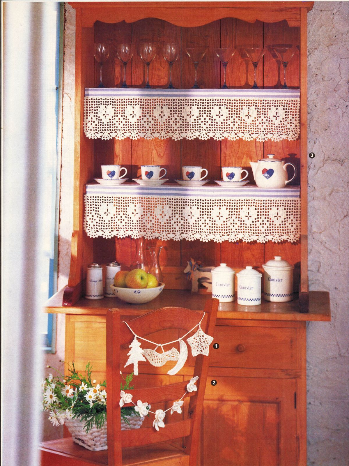Land of Smiles Asian Wall Decor Country Hutch Garland Shelf Lace CROCHET Pattern image 2