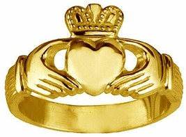 24K Gold Plated over 925 sterling silver Claddagh ring Promise Friendshi... - $22.11