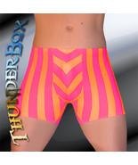 Thunderbox Nylon Spandex Mens Orange & Fuchsia Stripe Titan Pouch Shorts... - $25.00