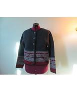 Tally Ho Boiled Wool Fair Isle Nordic Gray Cardigan Sweater Jacket Size M - $28.00