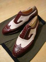 Two Tone Men Oxford White Maroon Brouging Wing Tip Premium Quality Leath... - $139.99+