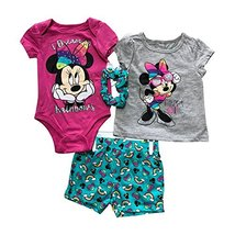 Disney Minnie Mouse 4 Pieces Baby Girls Summer Clothing Set | 100% Cotton | 5 Di - $9.99
