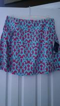 Nwt Ladies Ibkul Icikuls Alex Fuchsia Aqua Knit Golf Tennis Flip Skort L 12 14 - $89.99