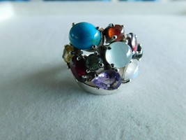 925 STERLING SILVER HAND MADE MULTI STONE RING OF WT.-14.9 GMS. - $57.93