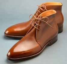 Handmade Men's Brown Leather Chukka Lace Up Boots image 1