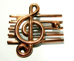 VINTAGE ESTATE COPPER RENOIR SIGNED LARGE MUSICAL NOTE TREBLE CLEF BROOC... - $115.00