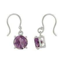 9 MM Round Amethyst 925 Sterling Silver Dangle Drop Women Earring - $16.11