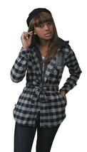 Insound Womens Black Flannel Tunic Shirt Hoodie Build in Ear buds Headphones NWT image 1