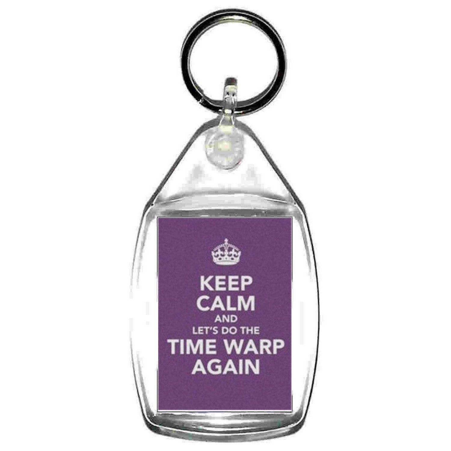 keyring double sided keep calm timewarp design, keychain
